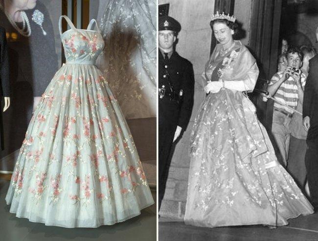 В Виндзорском замке организовали выставку нарядов королевы Великобритании Елизаветы II